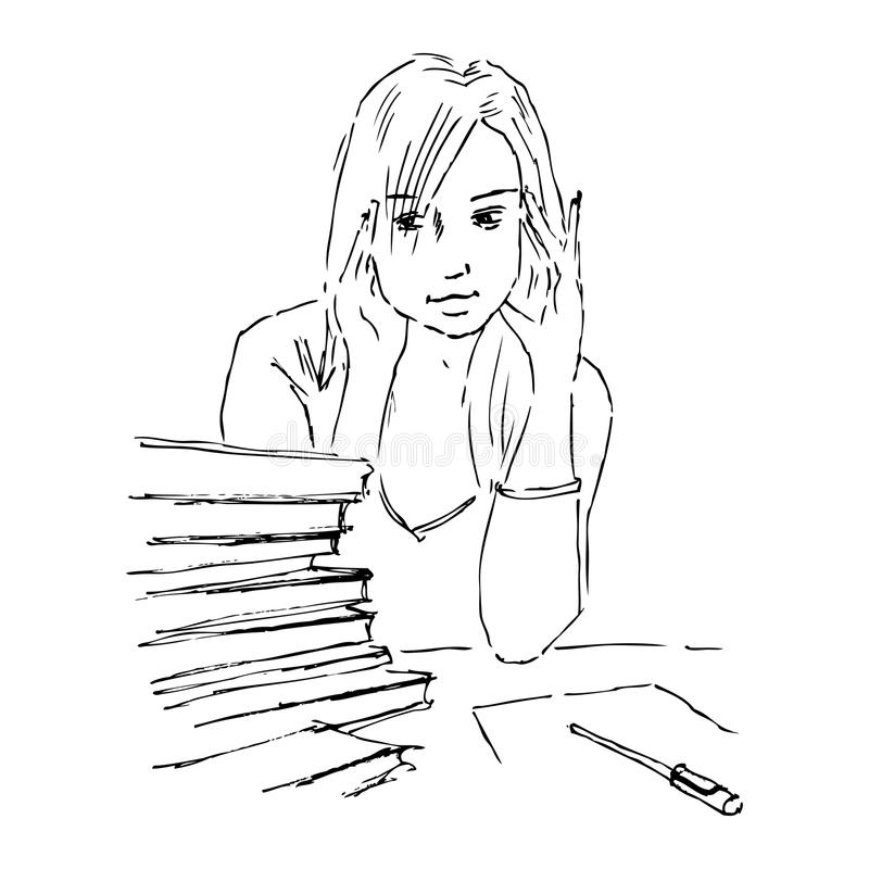 Download Young girl study stock illustration. Image of drawing - 22800595