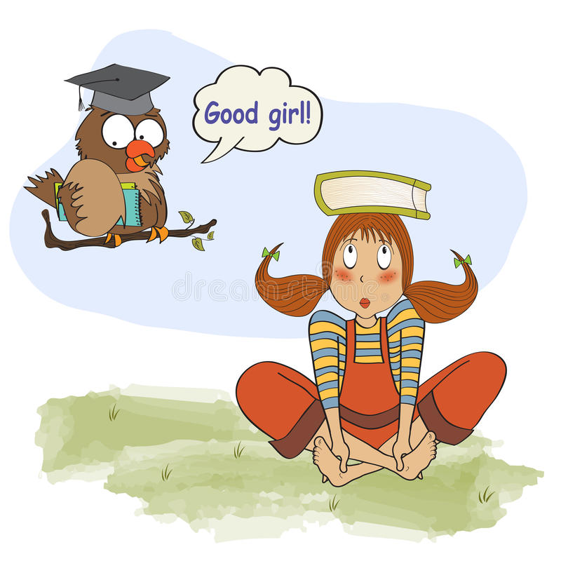 Young girl studying with her ​​teacher, an owl stock illustration