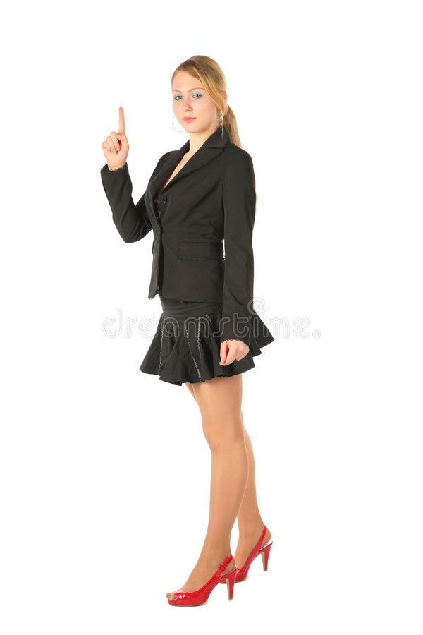 Young girl in suit with raised finger royalty free stock photo