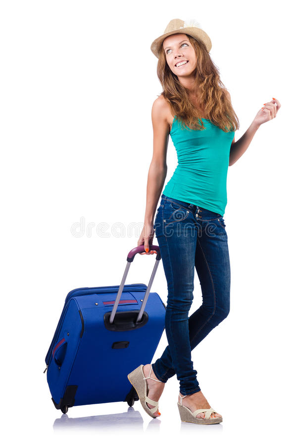 Download Young girl with suitcase stock image. Image of fashion - 27512577