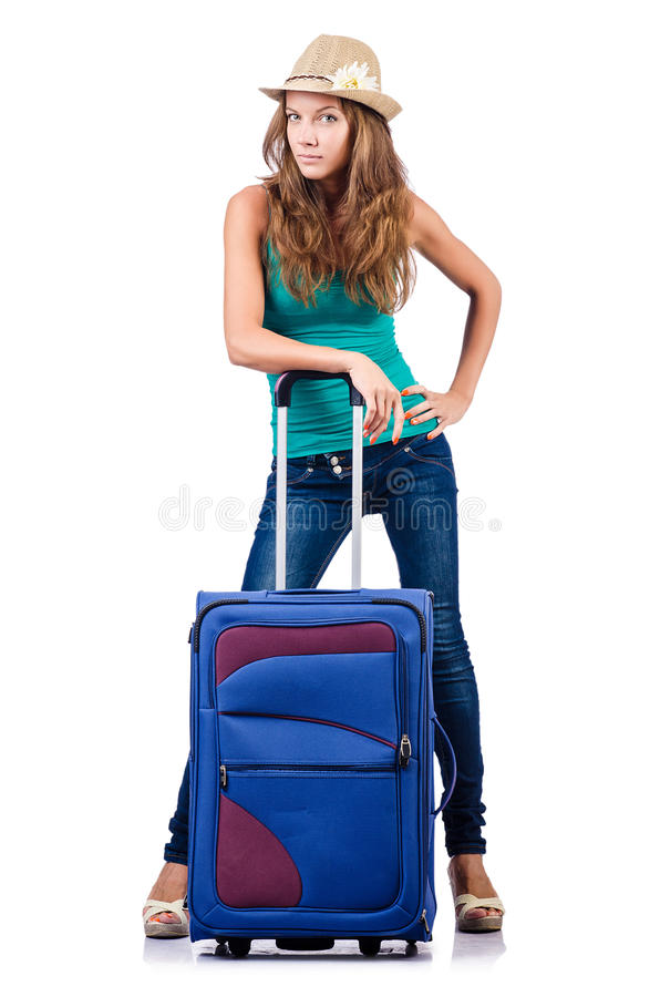 Download Young girl with suitcase stock photo. Image of clothing - 28135386