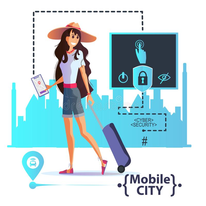 Young girl with a suitcase in a hat travels around the city. Order a taxi through the app. Young girl with a suitcase and a smartphone in her hand travels stock illustration