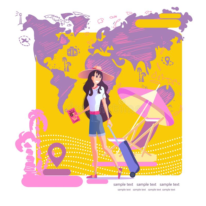 Girl with a suitcase in a hat travels around the world, vector eps 10. Young girl with a suitcase in a hat travels around the world, the sea, the sun and the stock illustration