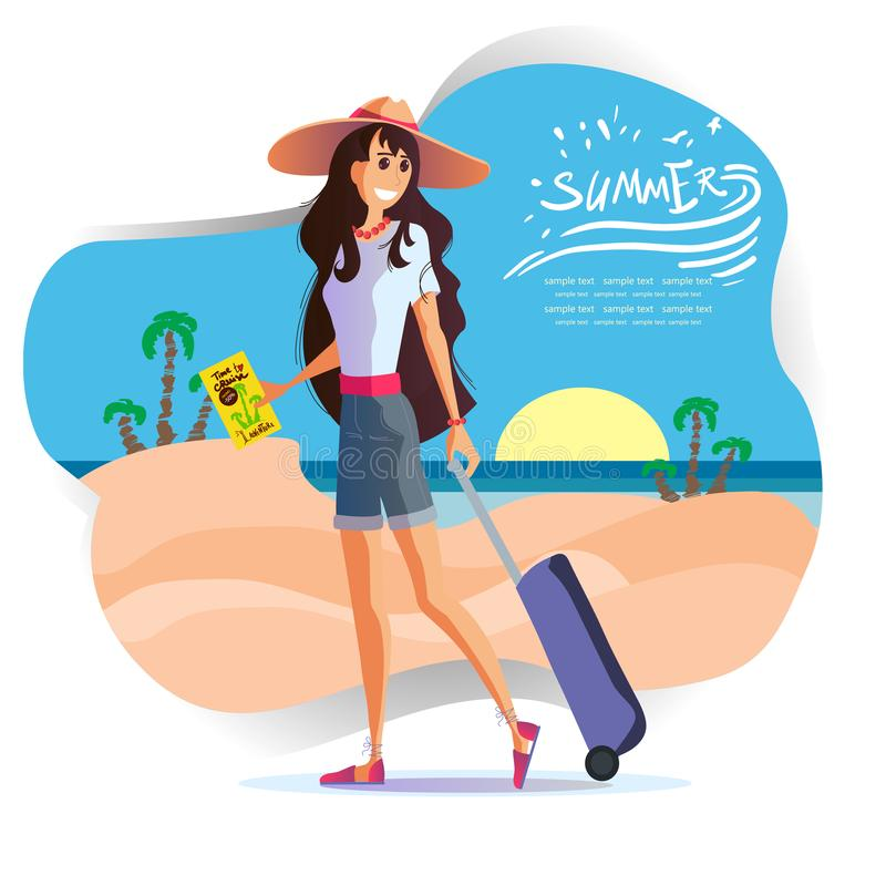 Girl  travels around the world, vector eps 10. Young girl with a suitcase in a hat travels around the world, the sea, the sun and the beach. Leaflet travel vector illustration