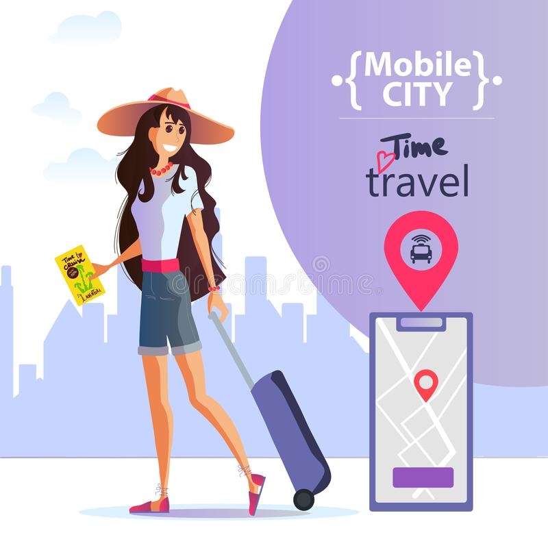 Young girl with a suitcase in a hat travels around the city. Order a taxi through the app. Young girl with a suitcase and a smartphone in her hand travels vector illustration