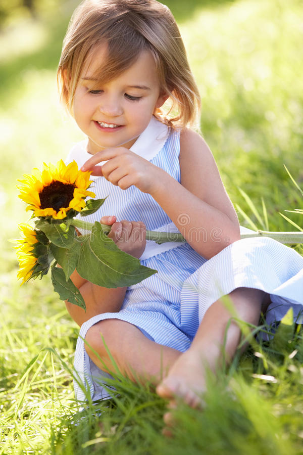 Young Girl In Summer Field Holding Sunflower stock photography