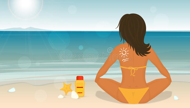 Young girl sunbathes on a beach and caring about vector illustration