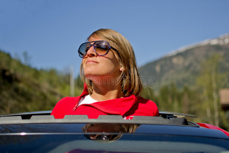 Young girl with sunglasses stock image