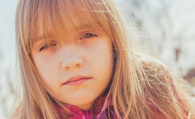 Young girl in sunlight royalty free stock images