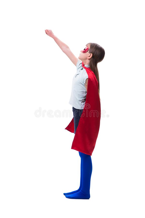 The young girl in super hero concept isolated on white. Young girl in super hero concept isolated on white stock image
