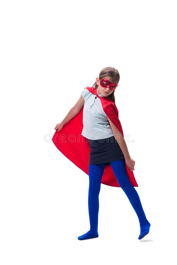 The young girl in super hero concept isolated on white. Young girl in super hero concept isolated on white royalty free stock images