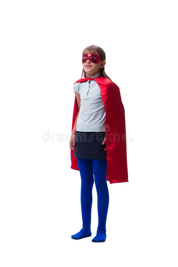 The young girl in super hero concept isolated on white. Young girl in super hero concept isolated on white royalty free stock photography