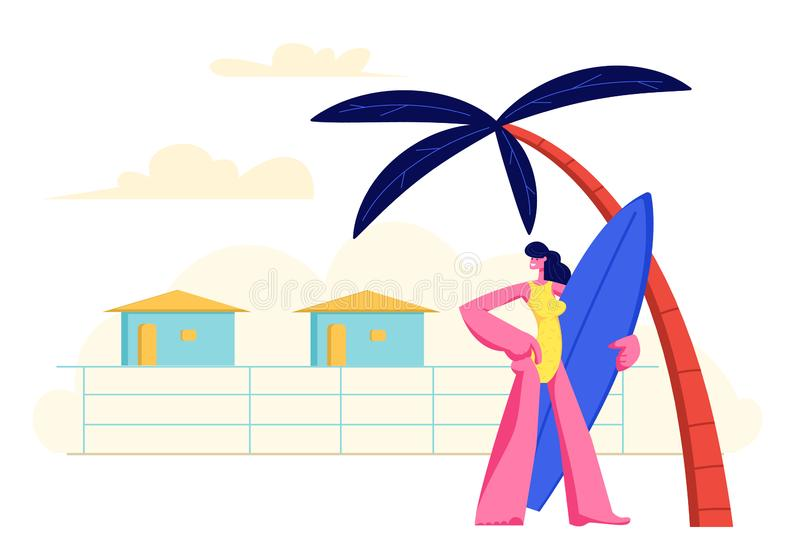 Young Girl with Surf Board in Hands Standing on Sandy Beach under Palm Tree on Resort Lodges Background. Summer Vacation royalty free illustration