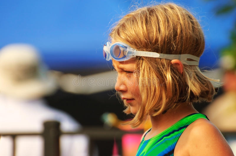 Download Young Girl at Swim Meet stock image. Image of child, outside - 14980123