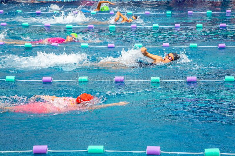 Young girl swimmers practicing lap swimming royalty free stock images