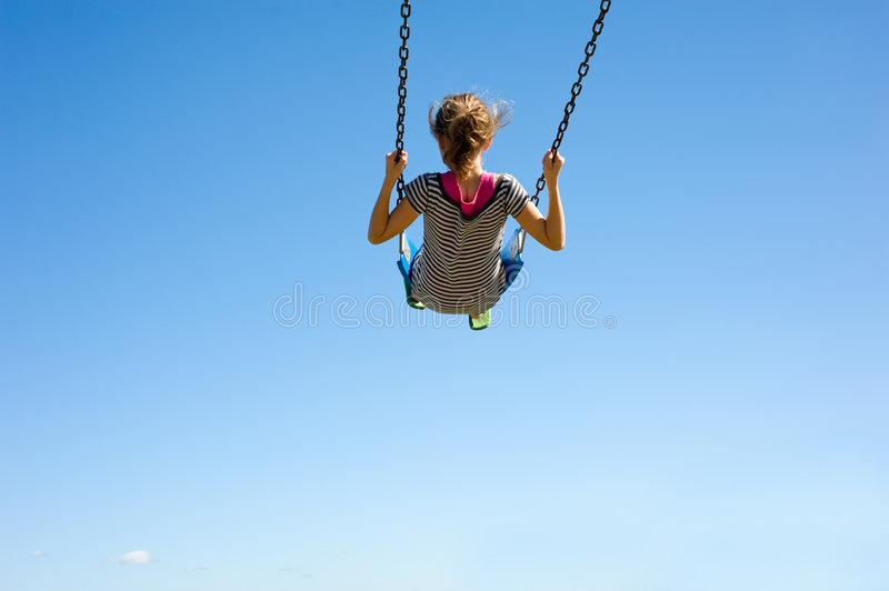 Download Young Girl on Swing stock image. Image of background, child - 5825873