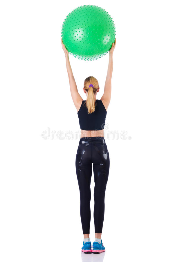 Download Young girl with swiss ball stock image. Image of athlete - 29210003