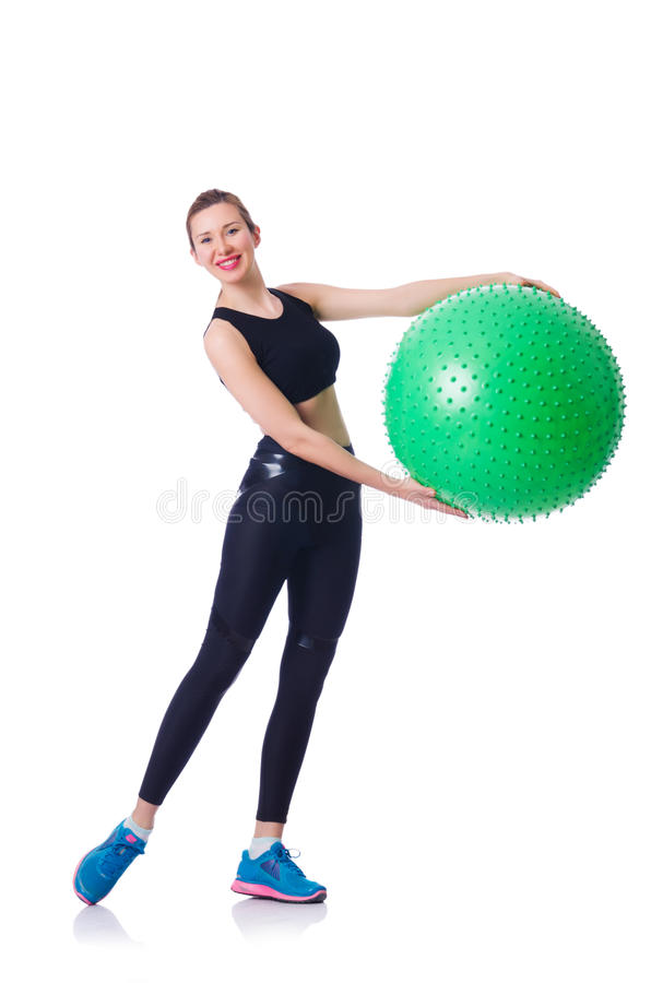 Young Girl With Swiss Ball Royalty Free Stock Photo
