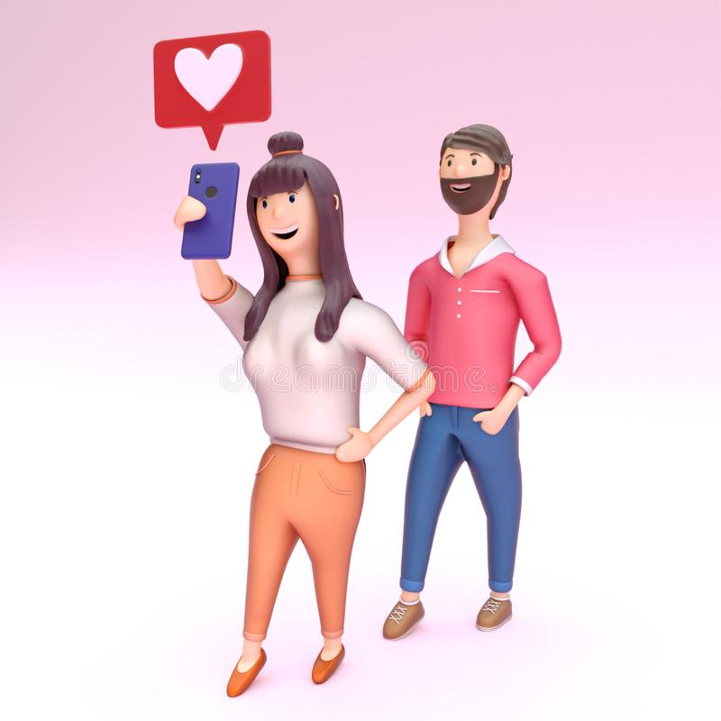 Young girl taking selfie with boy, love or like emoticon. stock illustration