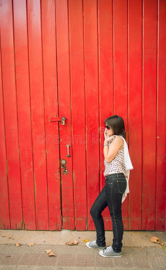 Download Young Girl Talking On The Phone In The City Royalty Free Stock Image - Image: 30544546
