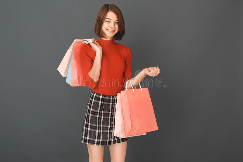 Young girl teenager isolated portrait shopping concept royalty free stock photo