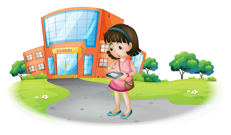 A young girl texting in front of a school building stock illustration