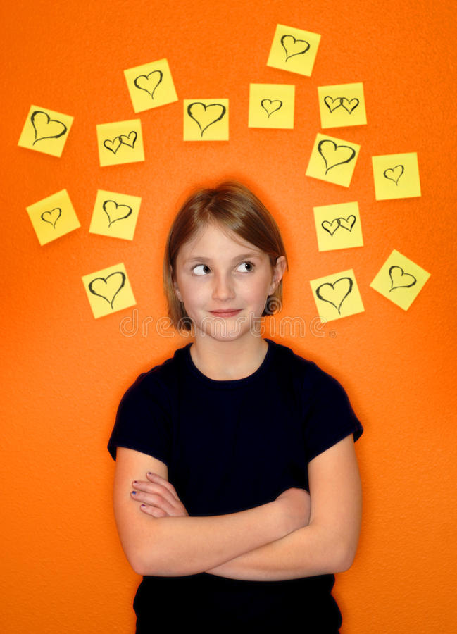 Young Girl Thinking and Sticky Notes royalty free stock photography