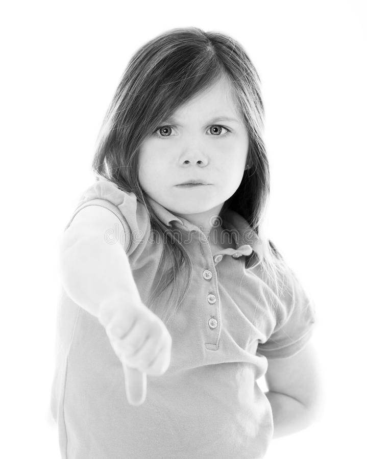 Download Young Girl With Thumbs Down Stock Photo - Image of melancholy, hurt: 26672076