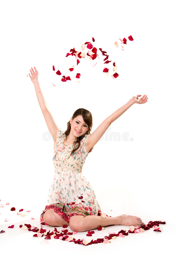 Free Young Girl Tossing Rose Petal Stock Images - 4059374