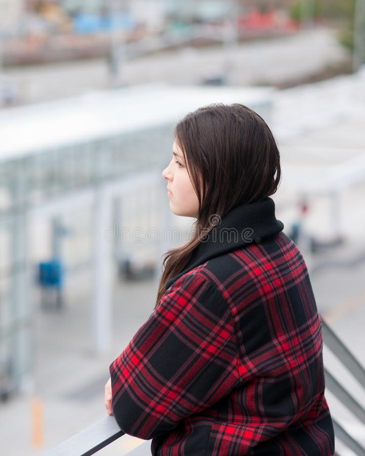 Download Young Girl In Transit Center Stock Image - Image: 12970839