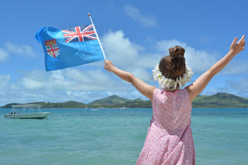 Young girl on travel holiday vacation in Fiji stock images