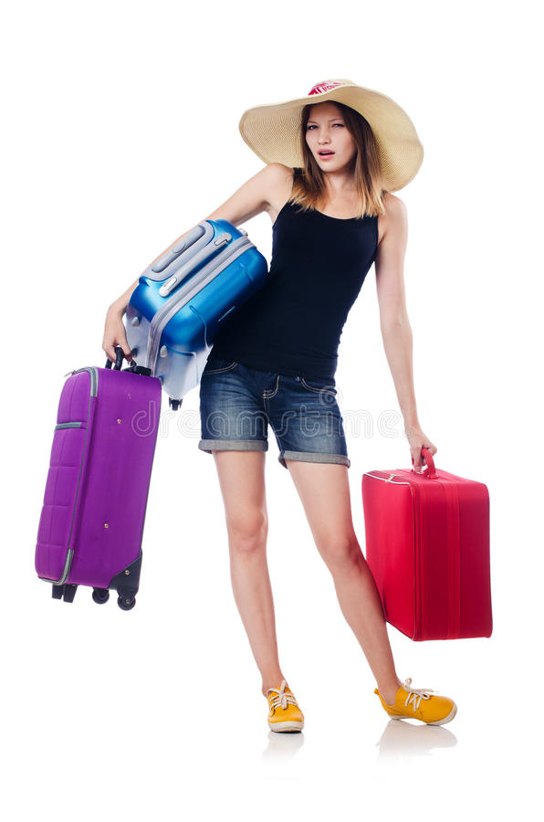 Download Young girl travelling stock image. Image of cases, luggage - 34469431