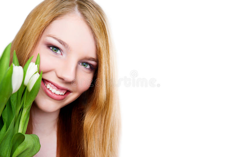Young Girl With Tulips Bouquet On White Background Stock Images