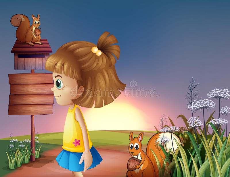 Download A Young Girl And The Two Squirrels Near The Empty Signage And Th Royalty Free Stock Photography - Image: 32676537