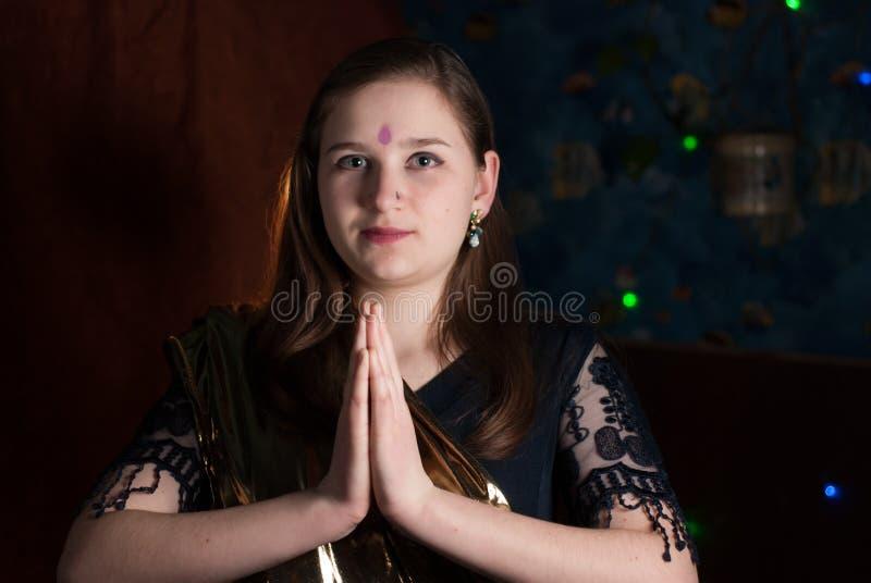 Young girl on Ugadi. Young girl on Indian New year, Ugadi royalty free stock image