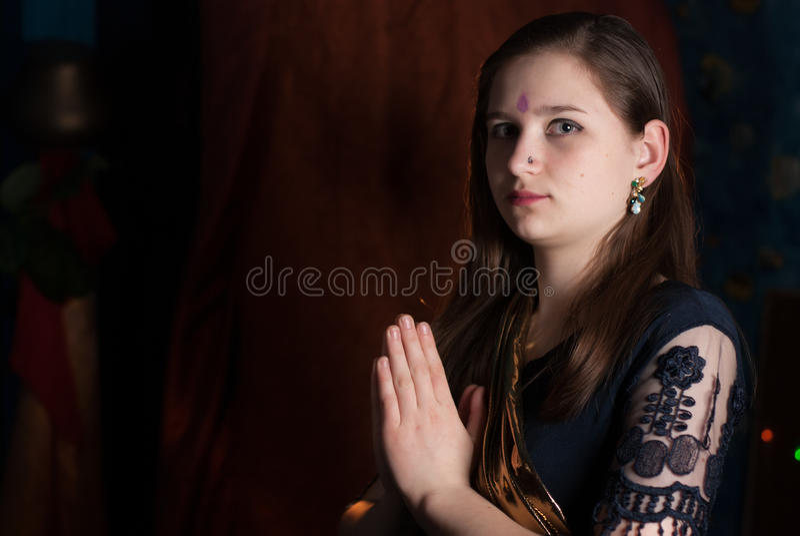 Young girl on Ugadi. Young girl on Indian New year, Ugadi royalty free stock photos