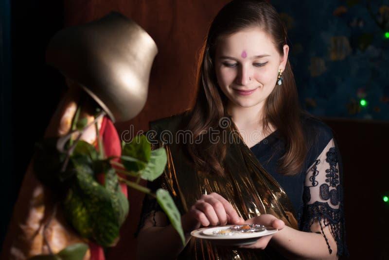 Young girl on Ugadi. Young girl on Indian New year, Ugadi stock image