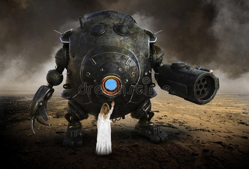 Surreal Imagination, Fantasy, Girl, Robot Droid. A young girl uses her imagination to play in a science fiction fantasy as she plays with a surreal robot droid royalty free stock photos