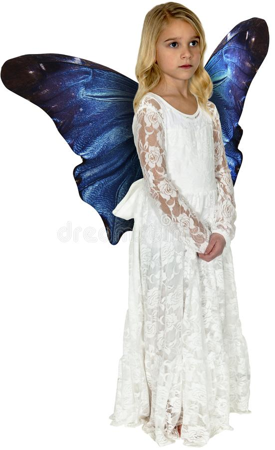 Angel, Butterfly Wings, Imagination, Isolated. A young girl uses her imagination to pretend she`s an angel with butterfly wings. isolated on white, PNG file stock photos