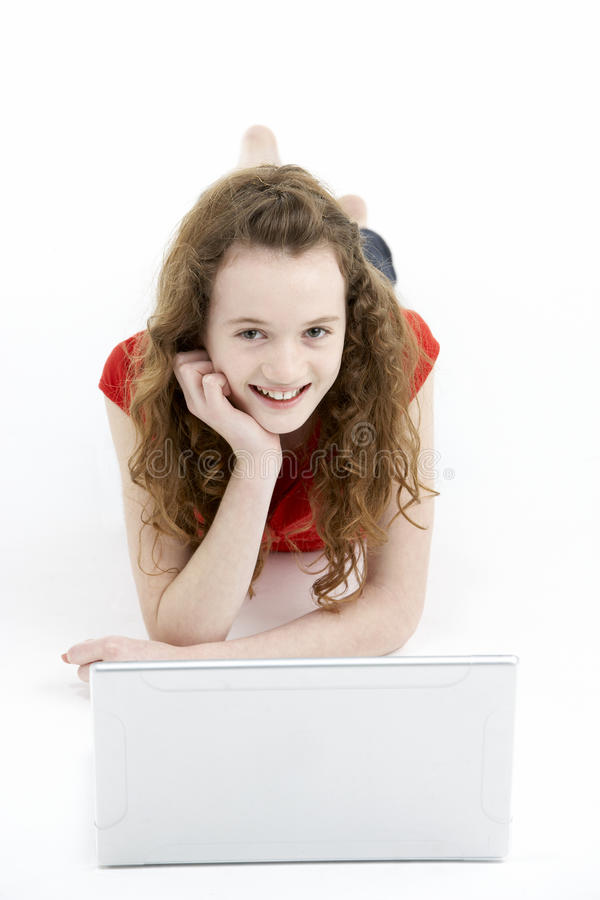 Download Young Girl Using Laptop Computer Stock Image - Image: 10002533