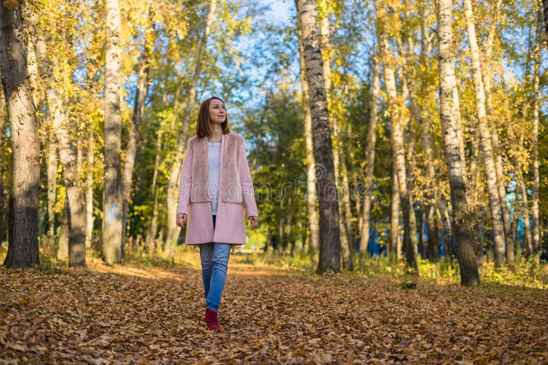 Young girl walking in the autumn forest. stock photography