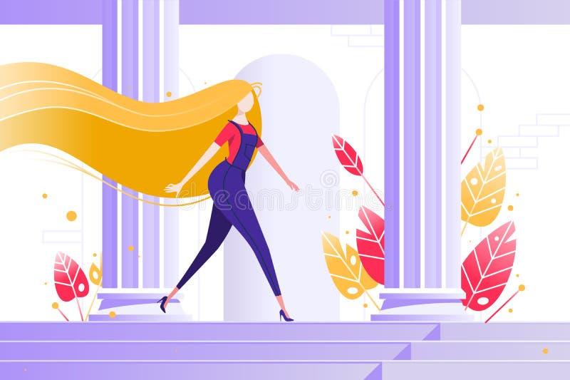 Young girl walking among the columns. vector illustration