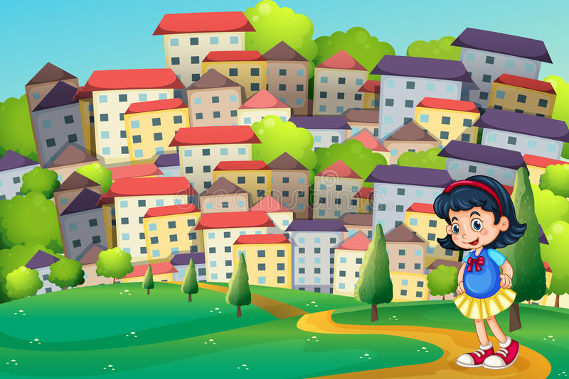 A young girl walking at the hilltop across the tall buildings vector illustration