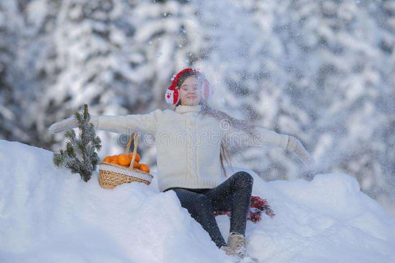 A young girl walks in the winter forest with a basket of mandarin royalty free stock photography