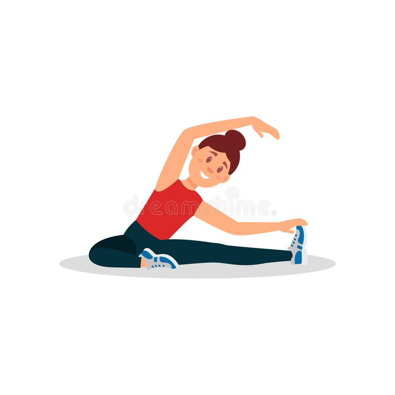 Young girl warming up before training. Woman doing exercise sitting on floor. Colorful flat vector design. Young girl warming up and stretching before training royalty free illustration