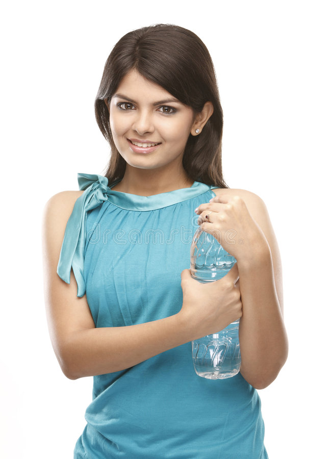 Young girl with the water bottle stock photos