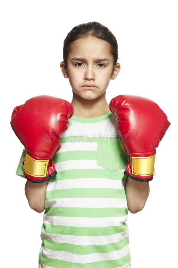 Download Young Girl Wearing Boxing Gloves Sad And Upset Stock Image - Image: 30173741