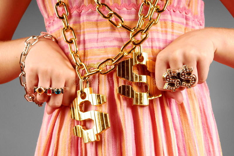Young Girl Wearing Hiphop Jewelry stock photo