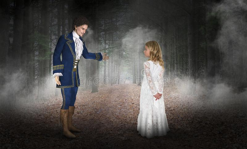 Storybook Fairytale Fantasy, Prince, Imagination. A young girl wearing a white dress uses her imagination to visit with a handsome young prince charming in a royalty free stock photos