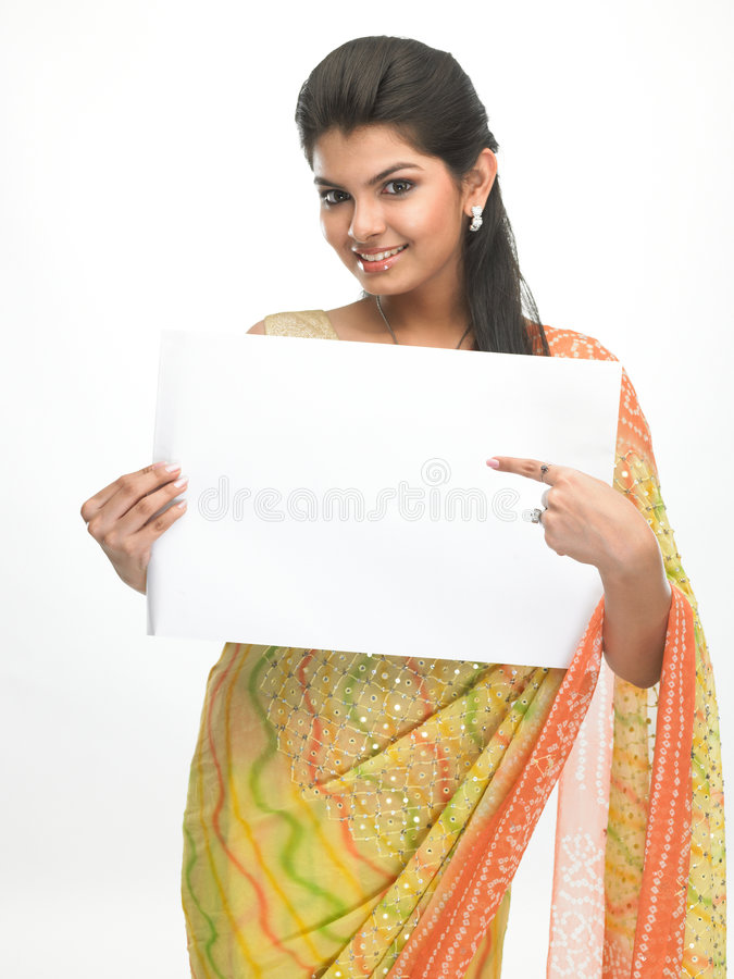 Young girl with white board stock photos